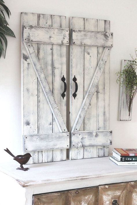 Rustic shutter wall decor 2 rustic shutters x rustic gallery wall fixer upper wall decor wood Pallet Shutters, Pallet Barn, Rustic Shutters, Interior Shutters, Interior Barn Doors, Farmhouse Shutters, Primitive Shutters, Modern Shutters, Rustic Decor