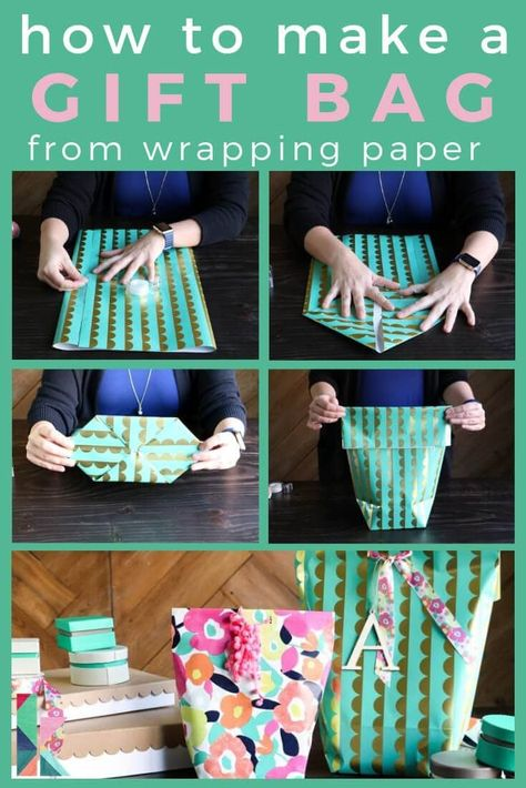 How to make a gift bag from wrapping paper. Kaleidoscope Living Never buy pre-made gift bags again! Learn how to make a gift bag from wrapping paper. It's easy and PERFECT for oddly shaped items! Paper Bag Gift Wrapping, Creative Gift Wrapping, Paper Gift Bags, Christmas Gift Wrapping, Wrapping Ideas, Paper Gifts, Paper Paper, Wrapping Papers, Origami Gift Bag