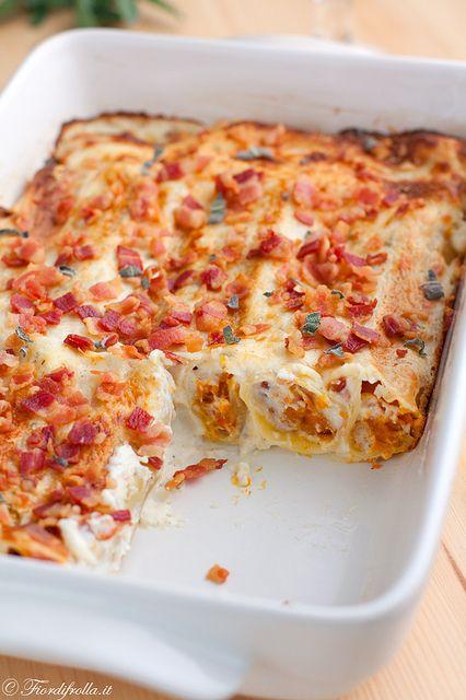 Cannelloni alla zucca con salsa alla ricotta