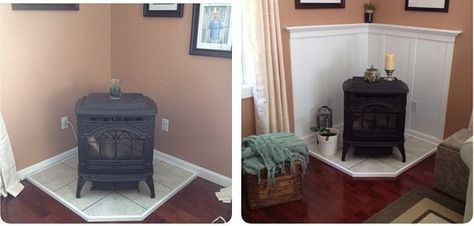 The Story Of My Pellet Stove Before And After Pellet Stove Home Wood Stove Fireplace