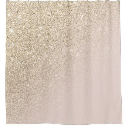 Modern Gold Glitter Sparkles Ombre Blush Pink Shower Curtain