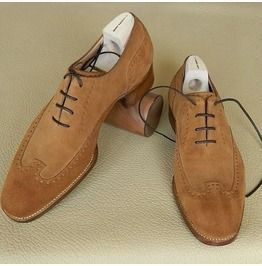 Handmade Men Wing Tip Brogue Dark Beige Suede Formal Shoes Brogue Shoes Quality Leather Boots Leather Shoes Men Dress Shoes Men