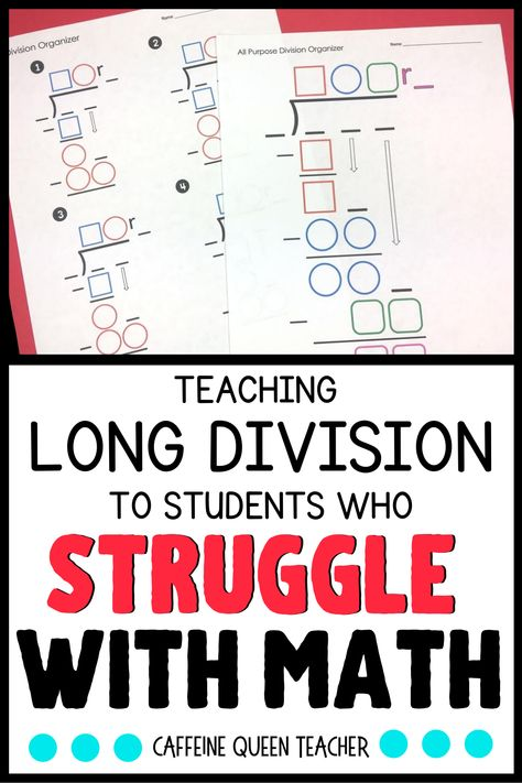 Learn the best way to teach multi-digit multiplication and long division. This differentiated strategy helps grade, grade, grade, and special education students. Division For Kids, Teaching Long Division, Division Math Games, How To Teach Division, Long Division Activities, Learning Multiplication Facts, Math Facts, Teaching Math, Teaching Ideas