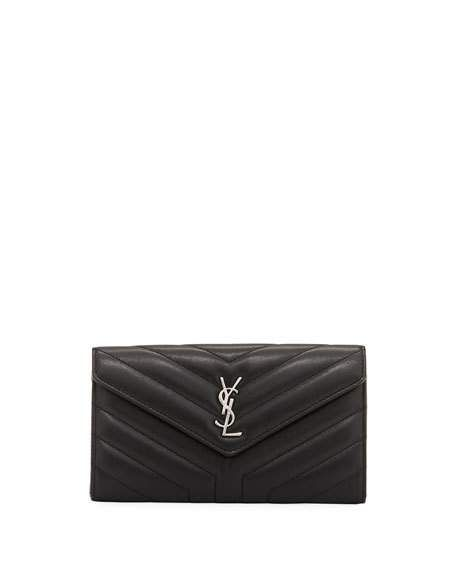 b3b48ff3e13 Loulou Monogram Continental V-Flap Wallet by Saint Laurent at Neiman Marcus