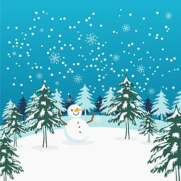 Winter Snowy Landscape With Snowman In The Middle Of Trees Winter Clipart Snowman Winter Png And Vector With Transparent Background For Free Download Winter Clipart Christmas Background Vector Winter Background
