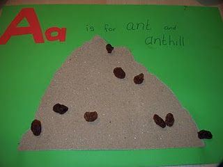 Muck Monsters: Letter A: A is for Ant and Anthill~ use raisins for ants