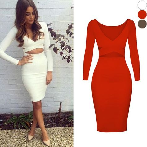 43ae5d0f91e Women Autumn Bandage Dress Fall 2016 Slim Knee Length Sexy Club Dresses Long  Sleeve Red White Party Tight Bodycon Dress Vestido-in Dresses from Women s  ...