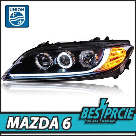 Fits 04-08 Mazda Mazda3 4Dr Sedan Black Projector DRL Daylight LED Headlights