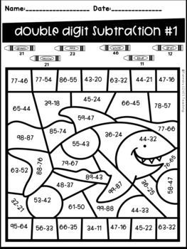 Ocean Animal Color By Code Two Digit Addition And Subtraction No