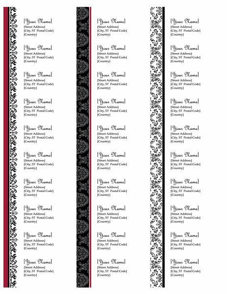 Return address labels (Black and White wedding design, 30 per page - address label template