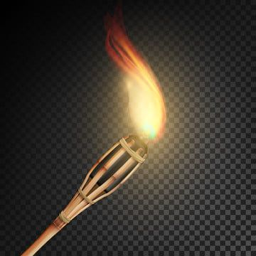 Burning Beach Bamboo Torch With Flame Realistic Fire Realistic Fire Torch Isolated On Transparent Background Vector Illustration Bamboo Torch Flame Png And V In 2021 Fire Torch Transparent Background Vector Illustration