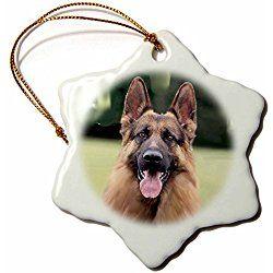 German Shepherd Snowflake Porcelain Christmas Ornament 3 Inch Holiday Shapes Porcelain Ornaments German Shepherd