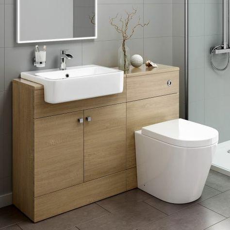 1160mm Harper Oak Effect Combined Vanity Unit Lyon Pan Soak Com Bathroom Units Vanity Units Bathroom Furniture Storage