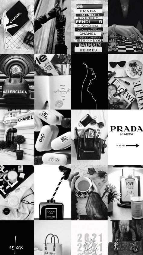 Black and White Photo Wall Collage Idea for Teen Girls Aesthetic Room Decor