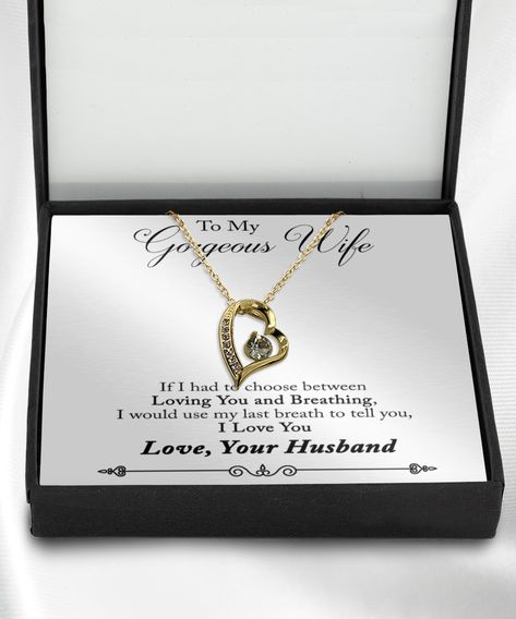 To my gorgeous wife necklace to my wifey with message card saying quote, more info click web link