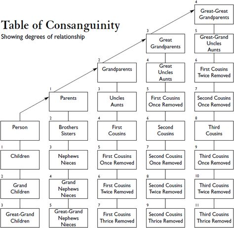 Consanguinity The Degree Of Genealogical Relationships Family