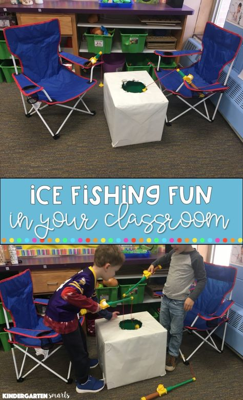 Ice Fishing in the classroom and more! How fun! Kindergarten Winter Activities for the Classroom - Kindergarten Smarts Preschool Themes, Preschool Classroom, Kindergarten Activities, Classroom Activities, Montessori Elementary, Learning Activities, Winter Activities For Kids, Toddler Activities, Winter Preschool Activities