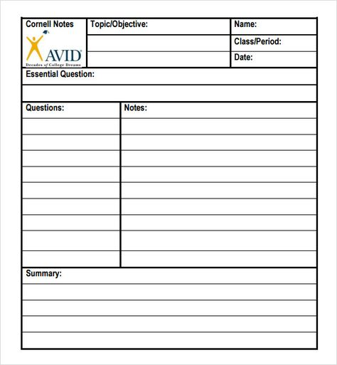 Avid Cornell Notes Template Pdf  Invitation Templates