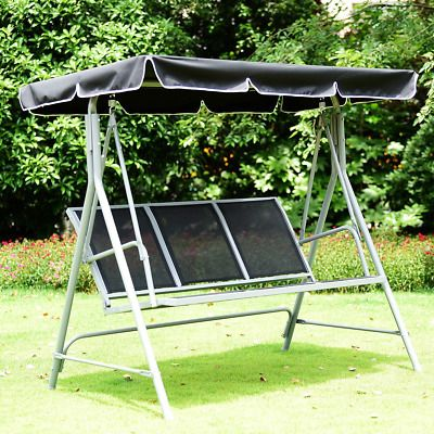 3 Persons Patio Powder Finish Canopy Deck Swing Bench In 2020 Outdoor Sling Chair Canopy Outdoor Outdoor Swing