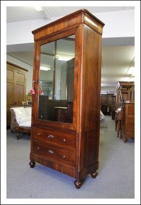 Armadio Guardaroba 1 Anta.Armadio Lombardo Con Specchio Vis A Vis Carlo X 1830 In Noce