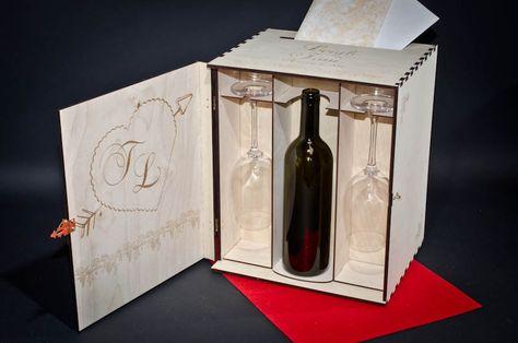 Aniversario cumplea/ños Arte-Deco Caja de Madera para 1 Botella de Vino Personalizada con Corte Nombre Mujer jubilaci/ón Regalo para Mujer d/ía de la Madre o d/ía del Padre.