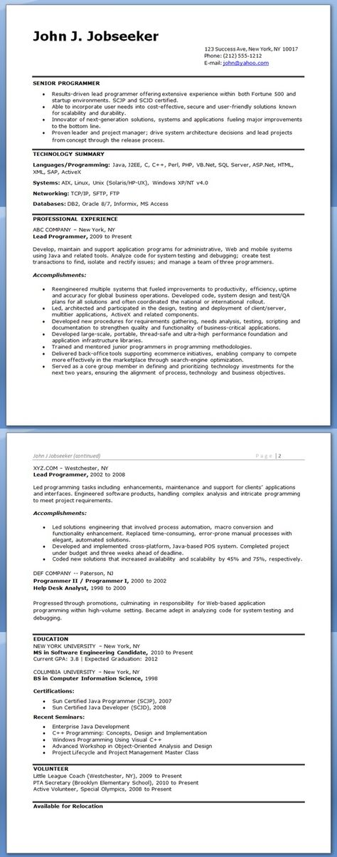 Do I Need A Degree To Be A Computer Programmer? Computer Science - sample resume for computer programmer