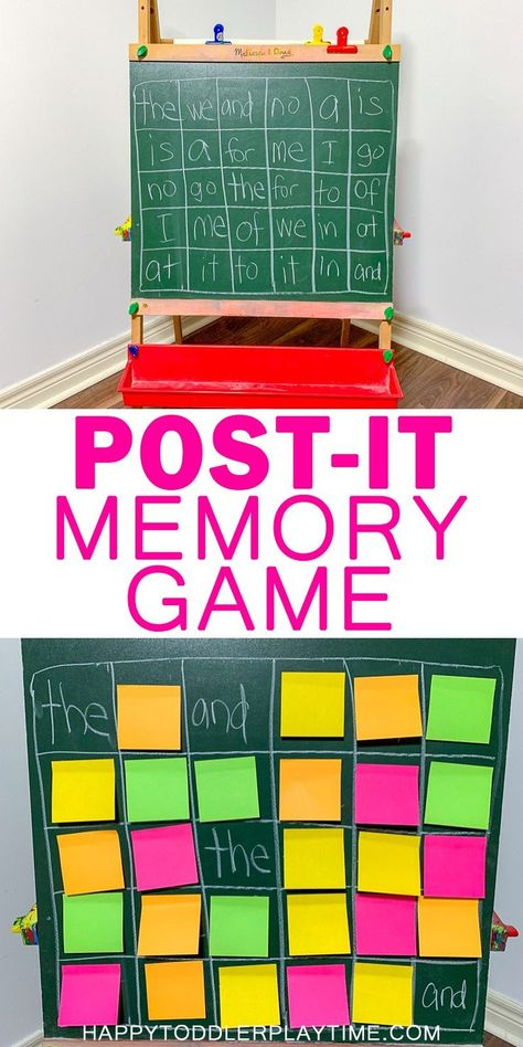 Memory Game Post-it Memory Game – HAPPY TODDLER PLAYTIME Memory games are an amazing way to improve concentration and cognitive skills in preschoolers! Here is a fun twist on the classic memory game using post-it notes! Teaching Sight Words, Sight Word Practice, Sight Word Games, Sight Word Activities, Literacy Activities, Listening Activities, Spelling Activities, Spelling Word Games, Home Learning