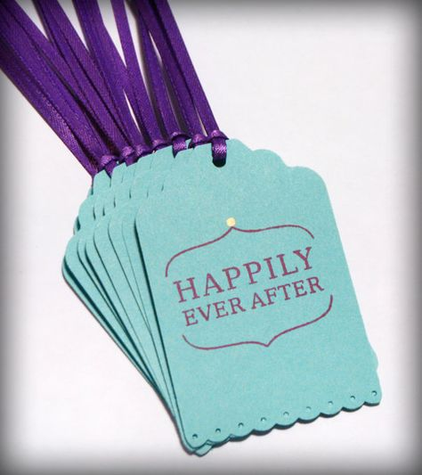 Happily Ever After Wedding tag 10 Wish Tree Blank purple teal bridal shower on Etsy, $4.50