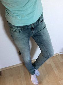 Jeans von Tom Tailor Gr. 31/32 Used Look Hose damen Blau Grün