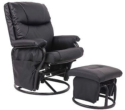 Black Pu Leather Nursery Glider Recliner Chair Furniture Chevron ...