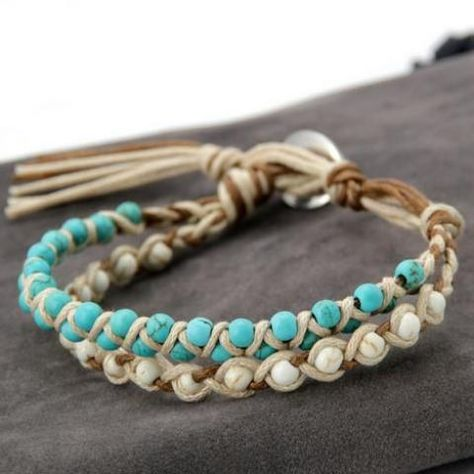 Handmade Braided Howlite & Turquoise Bracelet These glorious bohemian handmade bracelets blend the soothing and comforting effects of howlite with the strengthening and resilience effects of turquoise. Diy Bracelets Easy, Beaded Wrap Bracelets, Bracelet Crafts, Braided Bracelets, Handmade Bracelets, Beaded Jewelry, Jewelry Bracelets, Diy Friendship Bracelets With Beads, Making Bracelets