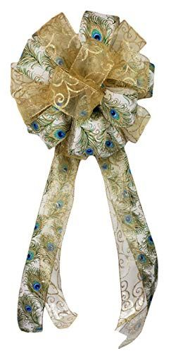 Peacock Christmas Tree Topper Bow Gift Banister Fireplace Door Decoration Blue Cream Gold 12x30 inch