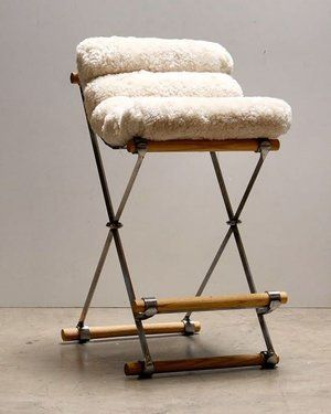 Iron And Rolled Barstool With A Shearling Seat Th Bar Stools