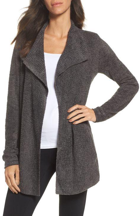 Women's Barefoot Dreams Cozychic Lite Coastal Cardigan, Size Large - Grey