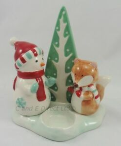 Details about Christmas Decorations Woodland Snowman & Fox Tealight Holder  Christmas Candle