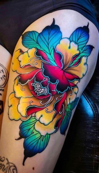 Japanese Leg Tattoo, Japanese Tattoo Women, Japanese Tattoo Designs, Japanese Sleeve Tattoos, Japanese Flower Tattoos, Japanese Tattoo Meanings, Pin Up Tattoos, Leg Tattoos, Body Art Tattoos