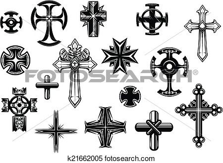 Buy Religious Crosses Set by VectorTradition on GraphicRiver. Religious crosses set isolated on white background for religious, tattoo and christianity design FLAT SPORTS MASCOTS .
