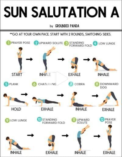 How To Do The 12 Poses Of Sun Salutation For Beginners In 2020 Easy Yoga Workouts Yoga Routine For Beginners Relaxing Yoga