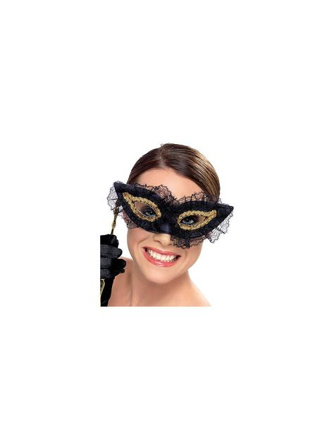 LADIES OR MENS MASQUERADE MASK ON A STICK EYEMASK EYE BALL HALLOWEEN FANCY DRESS