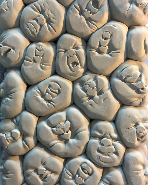 Detail of tower of squished baby faces by beinartgallery Sculpture by johnsontsang Tu recepcja - Ceramic Sculptures by Johnson Tsang --- idea = bottom of cup / plate! Don't be another brick in the wall Sculpture by ! by arts_gate I kind of, sorta, definit