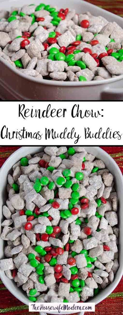 Reindeer Chow: Christmas Chex Muddy Buddies Reindeer Chow, classic puppy chow with a Christmas twist. Easy Christmas Chex Muddy Buddies is sure to be a instant classic Christmas favorite. Holiday Snacks, Christmas Snacks, Christmas Cooking, Holiday Recipes, Christmas Recipes, Christmas Christmas, Christmas Goodies, Party Snacks, Christmas Chex Mix