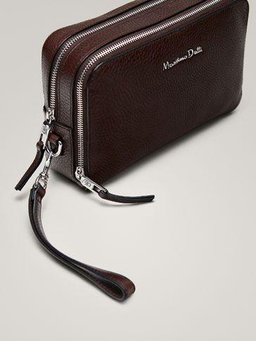 Men Leather Business Organizer Clutch Handbag Wallet Purse Zipper Holder Bag