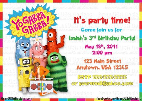 yo gabba gabba birthday invitations | baby shower invitation ideas, Wedding invitations