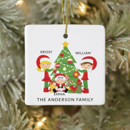Sweet Family Of 3 Personalized Christmas Ceramic Ornament Zazzle Com Personalized Christmas Ornaments Personalized Christmas Ceramic Ornaments