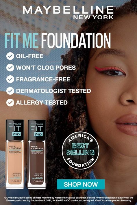 Ideal for normal to oily skin, our exclusive matte foundation formula features micro-powders to control shine and blur pores. Pore minimizing foundation. All day wear. Non-comedogenic. Dermatologist tested. Allergy tested. Tap to shop!