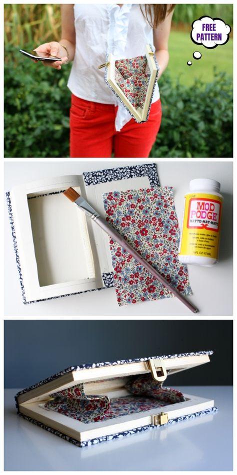 DIY Book Clutch Free Sew Patterns & Tutorials Source by Book Clutch, Book Purse, Diy Clutch, Diy Purse, Clutch Bag, Sewing Patterns Free, Free Sewing, Free Pattern, Stitching Patterns