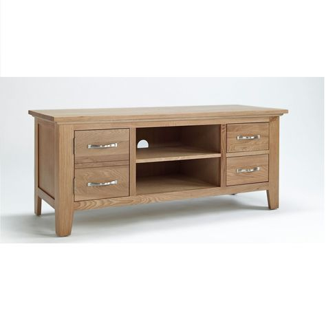 Photo of Newark Oak Wide TV Cabinet with 2 Doors – up to 53″ – The Cotswold Company