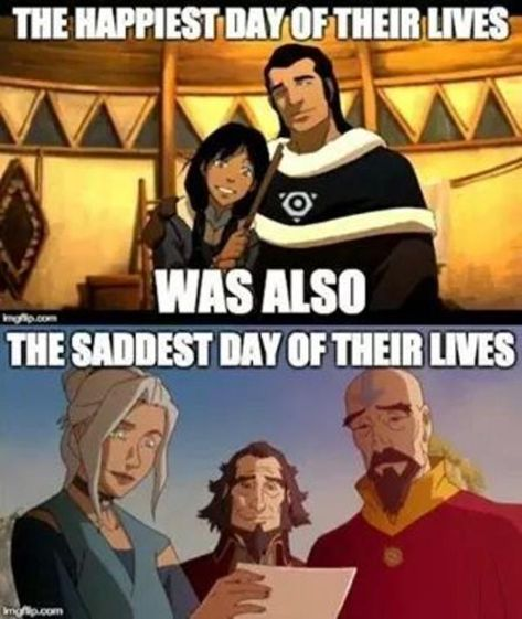 Anng dies(the bottoms picture's father); and a new avatar is born(top pictures daughter Korra) As the saying goes 'When one person dies another is brought into the world.'