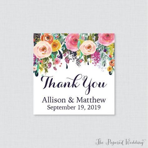 Printable Or Printed Wedding Favor Tags Floral Square Favor Tags