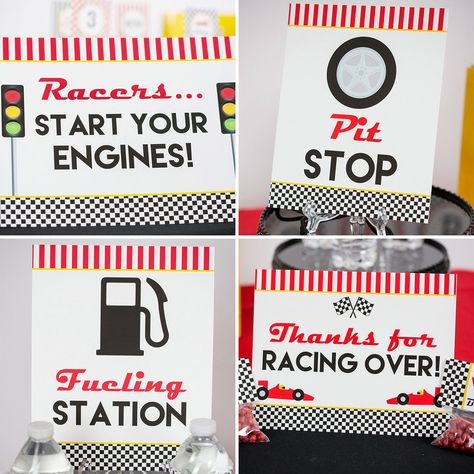 Race Car Birthday Party Decorations - Printable Race Car Party Decorations - Race Car Birthday Party ideas by Printable Studio Race Car Birthday, Cars Birthday Parties, 1st Boy Birthday, Birthday Party Decorations, Birthday Ideas, Car Themed Birthday Party, Disney Cars Birthday, Nascar Party, Race Car Party